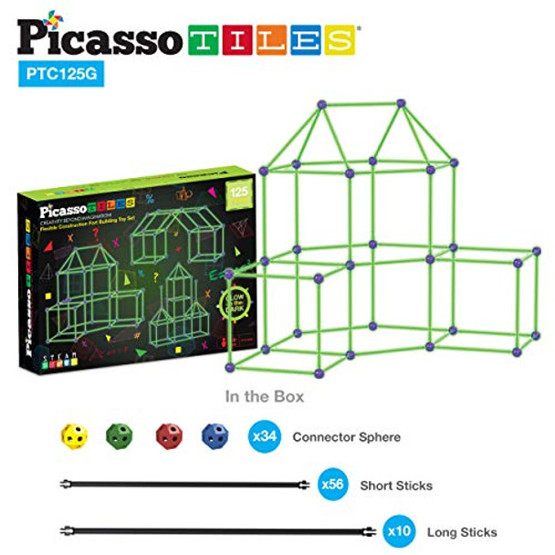 PicassoTiles Kids Fort Building Kit Glow In The Dark Playset 125 Piece Indoor Outdoor Toy Set Fort Construction Builders Toys for Boys Girls STEM Learning Castle System Tunnel Tent Rocket Pretend Play