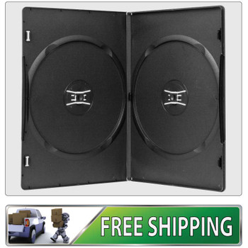 50 X  DVD Cases double black 7mm spine - Holds 2 Discs