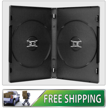 25 X DVD Cases double black 14mm spine - Holds 2 Discs