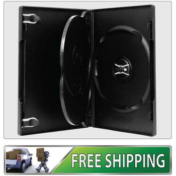 4 X DVD Cases triple black 14mm spine - Holds 3 Discs