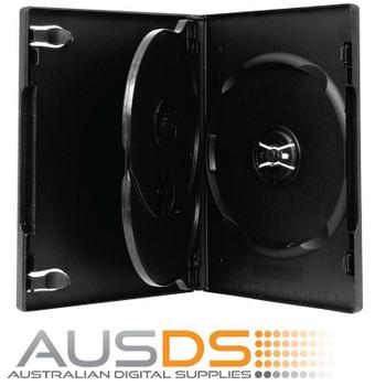 100 X DVD Cases triple black 14mm spine - Holds 3 Discs