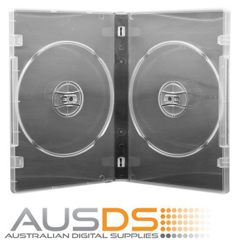 DVD Case - clear 14mm spine - Holds 2 discs