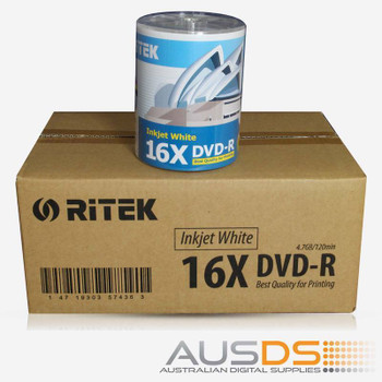 Ritek DVD blank disc media - Printable DVD-R discs matte - 16X burn
