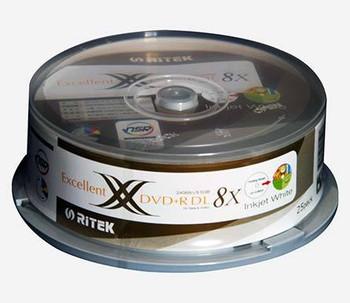 25 X Ritek DVD+R DL blank disc media - Dual Layer - Matte