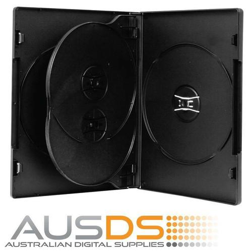 DVD Cases black quad 14mm spine - Holds 4 Discs