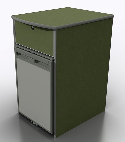 Pod 027 in moisture resistant MDF with silver edge trim. Shown with CRX50 fridge (not supplied)