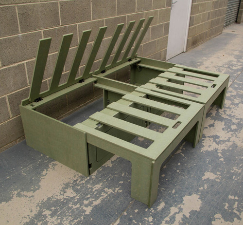 Sliding campervan bed with lift up lid to access the storage compartments