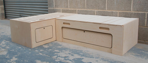 L Shaped Campervan Bed made in birch ply