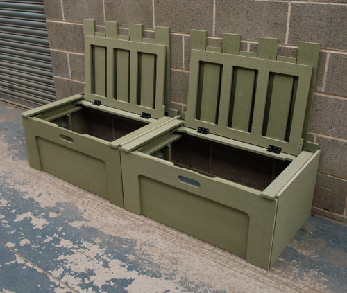 Campervan bed with lift up lids for access to storage areas