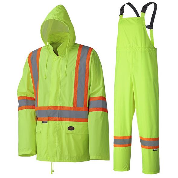 V1080170-L Waterproof Lightweight Jacket and Pants Combo Rainsuit Black
