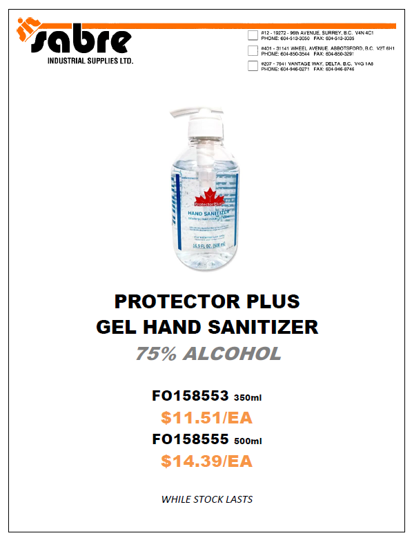 Hand Sanitizer Canadian Protector 300ml 500ml