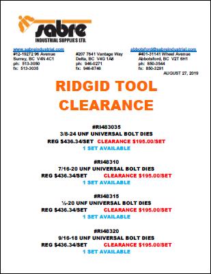 Ridgid Clearance