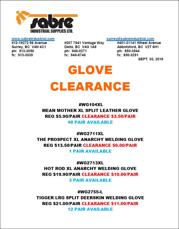 Glove Clearance