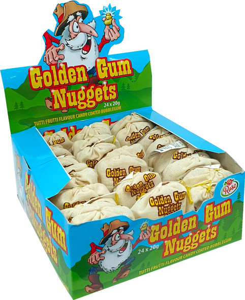 Gold Nugget Shaped Rocks of Tutti Frutti Flavoured Bubble Gum
