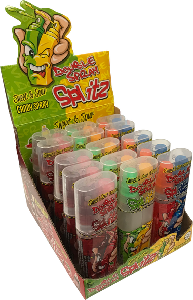 Sweet & Sour Candy Spray With Two Pumps That Can Be Split in Half. Cola & Cherry, Blue Raspberry & Strawberry and Watermelon & Lemonade