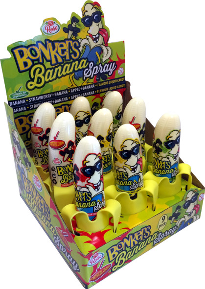 Banana shaped liquid candy sprays in 3 flavours.