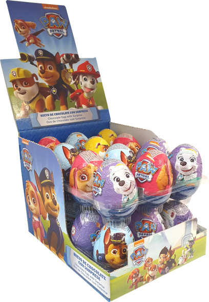 Milk chocolate surprise eggs filled with Paw Patrol collectables