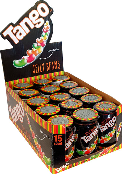 Tango flavoured jelly beans in a small cans