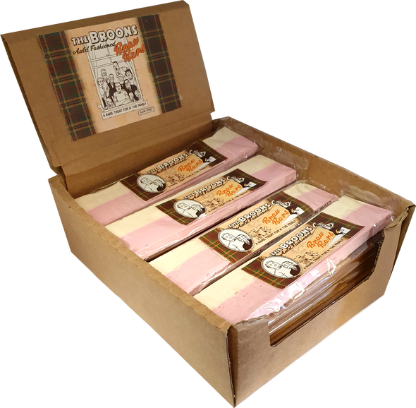 Display of the broons pink and white nougat