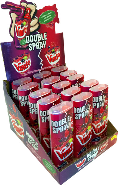 Vimto and Cherry Vimto candy spray with two pumps for twice the fun