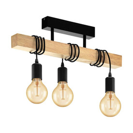 Townshend 3lt Bar Close to Ceiling Pendant Light Timber/Black