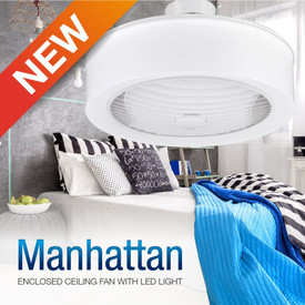Manhattan Enclosed Ceiling Fan with LED Light & Remote