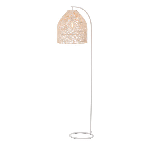 Sawyer Batten Floor Lamp Natural & White