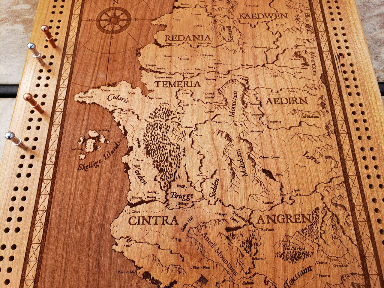 Witcher World Map Cribbage Board