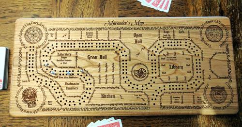 Harry Potter Inspired Marauder's Map Cribbage Board