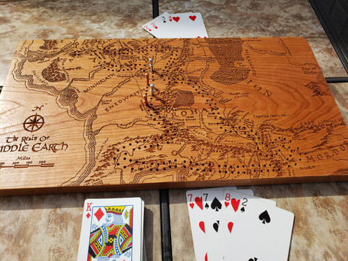 Middle Earth Map Cribbage Board