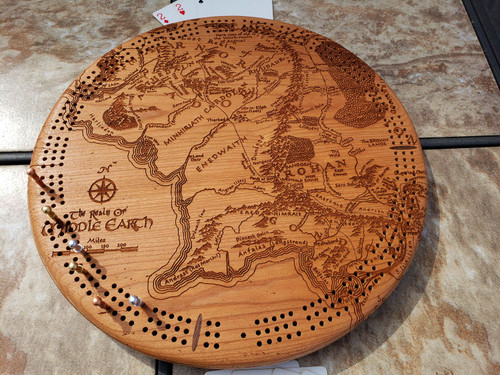 Middle Earth Map Round Cribbage Board