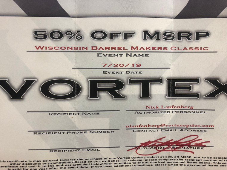Certificate  Vortex 50% OFF MSRP