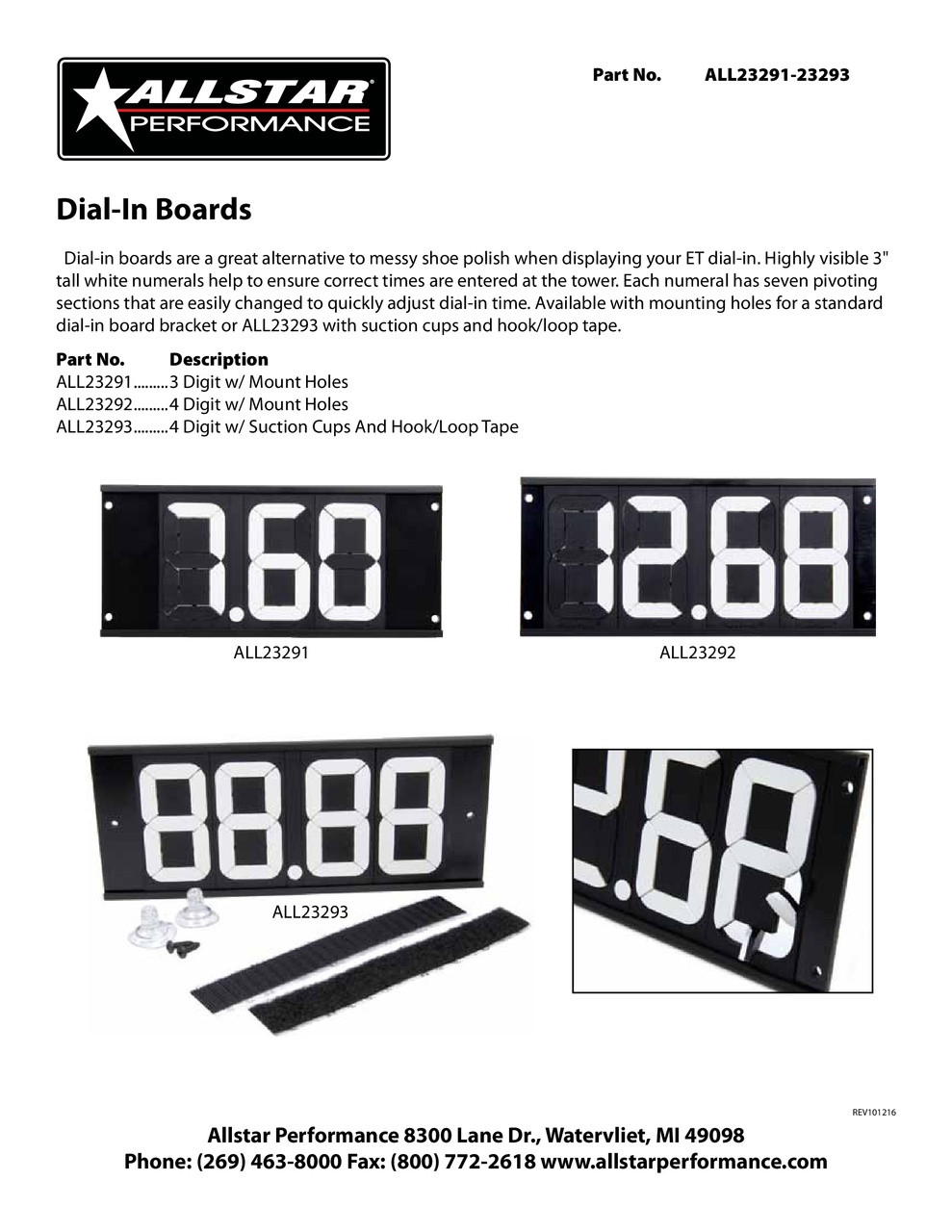 Allstar Performance Dial-In Board 4 Digit with Mounting Holes ALL23292