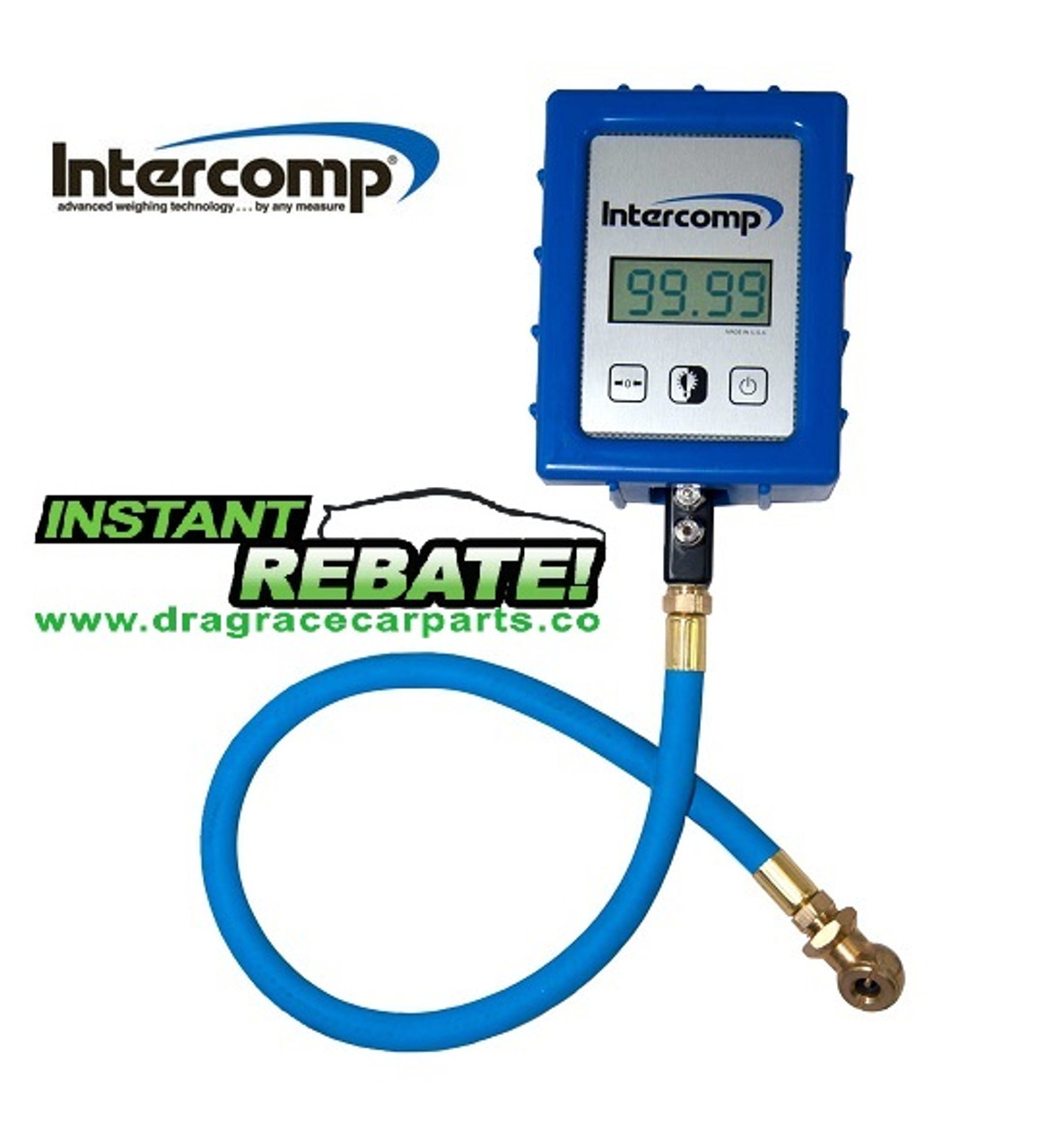 Intercomp Racing Digital Air Tire Pressure Gauge 0-99.99 psi, 45 Degree Chuck, Bleed Valve, 22.0 inch Hose, Case 360045 with FREE SHIPPING and INSTANT REBATE SAVINGS