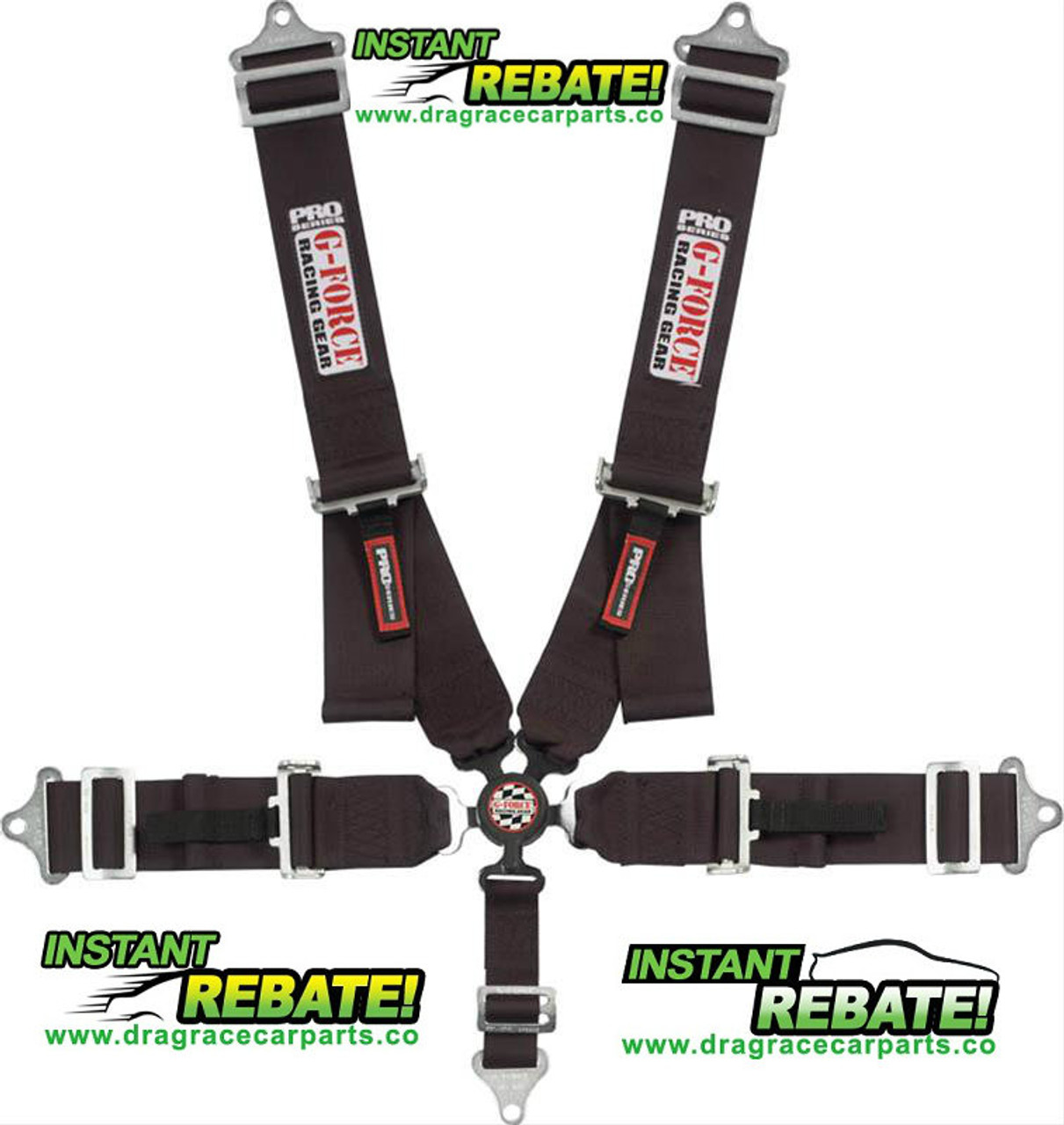 G-FORCE Racing Camlock 5 Point Harness Set Black 7000BK with FREE SHIPPING and INSTANT REBATE SAVINGS