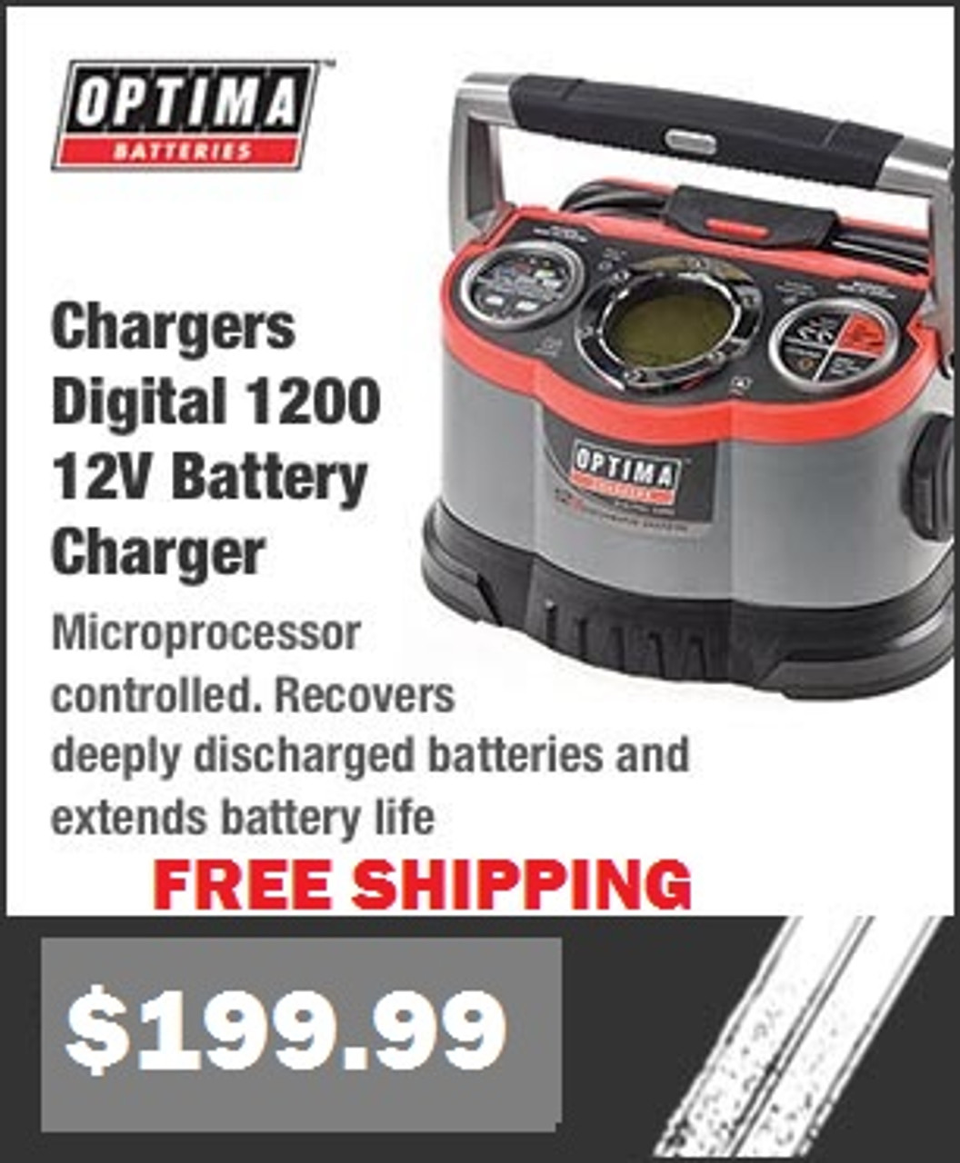 Optima Batteries 150-33508 150-34178 Digital 1200 Battery Chargers IN STOCK with FREE SHIPPING and INSTANT REBATE SAVINGS