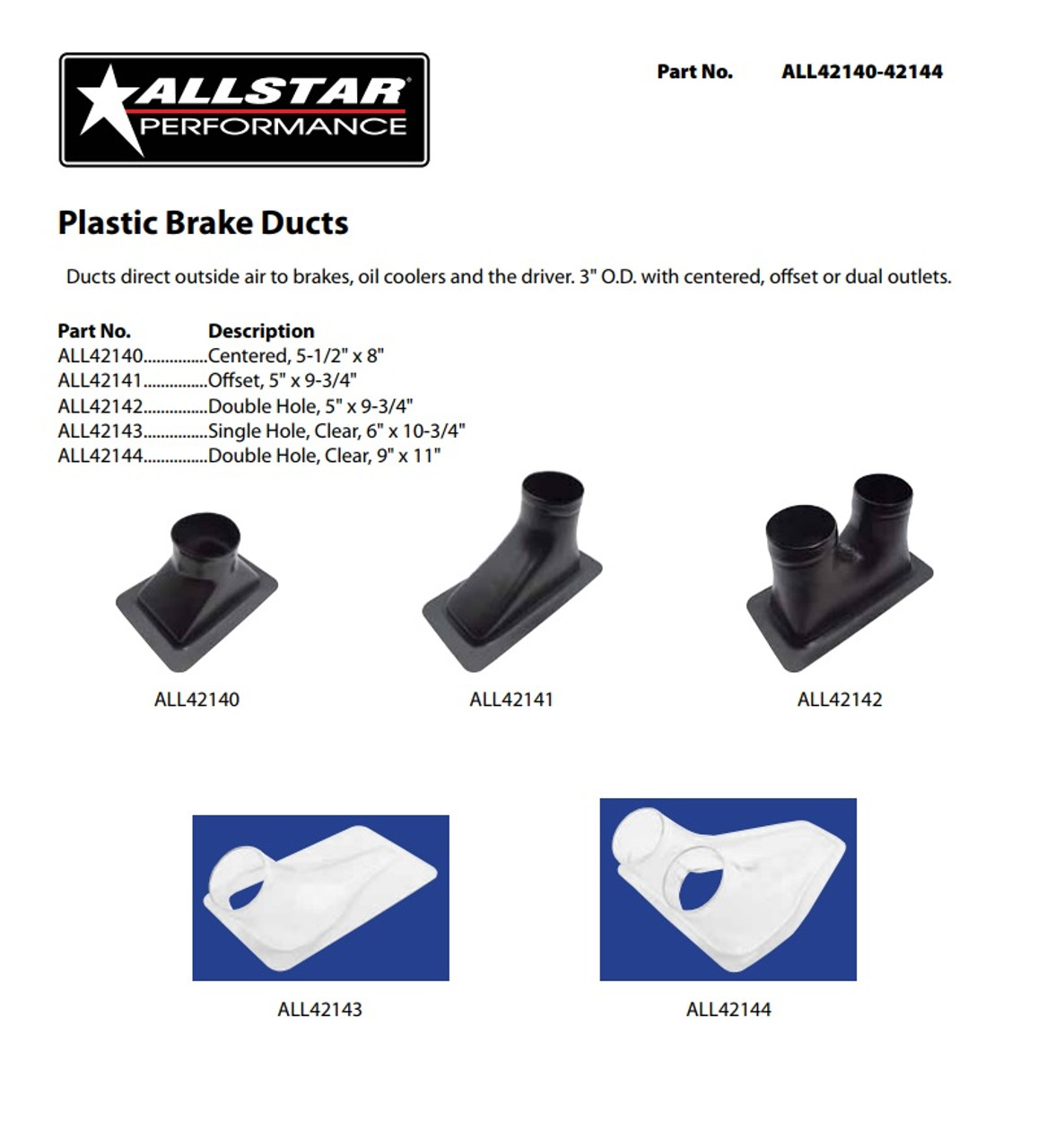 "Clear Allstar ALL42144 Plastic Brake Duct Double Hole 9/"" x 11/"""