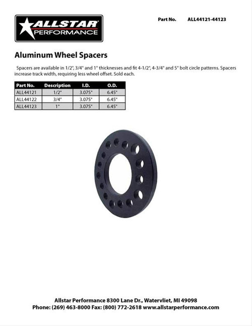 Allstar Performance Aluminum Wheel Spacer 1 Inch Thick 5 lugs ALL44123 (SPEC SHEET)