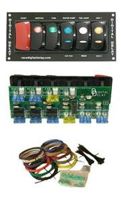 Digital Delay DRAG RACE CAR RACING SWITCH PANEL KIT 1036-BW Black