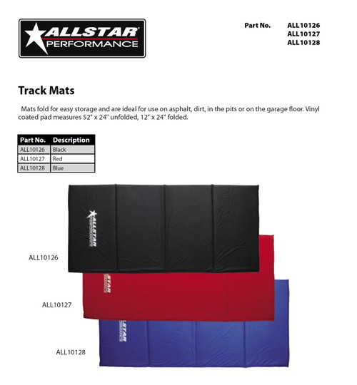 Allstar Performance Black Vinyl Track Mat Pit Mat 54 x 24 In. ALL10126
