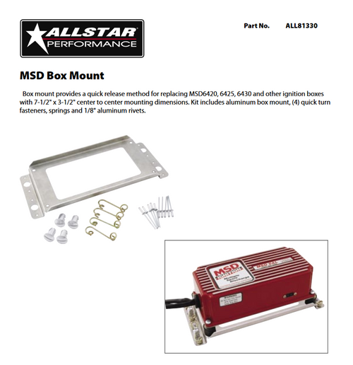 Allstar Performance MSD 6 Series Ignition Box Mounting Plate ALL81330
