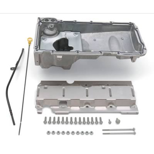 Engine Oil Pan Kit, Muscle Car, Rear Sump, 5 qt, Dip Stick, Gasket, Hardware, Windage Tray Included, Aluminum, Natural, GM LS-Series, 4.8, 5.3, 5.7, 6.0L, Kit 19212593