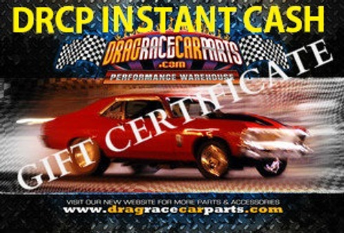 Drag Race Car Parts INSTANT CASH GIFT CERTIFICATE