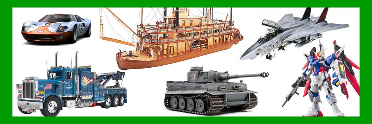 Plastic & Wooden Model Kits including Cars, Trucks, Motorcycles, Airplanes, Wooden Ships, Boats, Tanks, Military Vehicles, Space Craft, Monster, SyFy Figures, Gundum, Military Figure, Battleship Model Kits