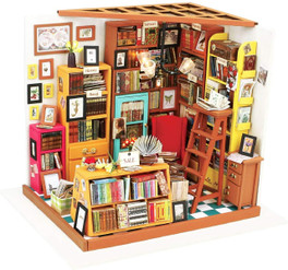 DIY Build Your Own Wooden Miniature Dollhouse Room Craft Kits with Miniatures, Furniture and LED Lighting included.