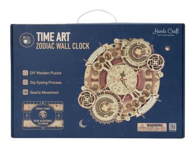 OakridgeStores.com | HANDSCRAFT : Zodiac Wall Clock DIY 3D Wooden Puzzle Laser-Cut Mechanical Wind-Up Puzzle Model Kit (LC601) 850005994985