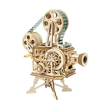 OakridgeStores.com | HANDS CRAFT Mechanical Wooden Puzzle : Vitascope (MOTION PICTURE CAMERA) DIY 3D Wooden Puzzle Laser-Cut Mechanical Wind-Up Puzzle Model Kit (LK601) 850005994275