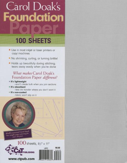 "C&T PUBLISHING - Carol Doak's Foundation Paper-8.5""X11"" 100/Pkg (10985) 734817109853"
