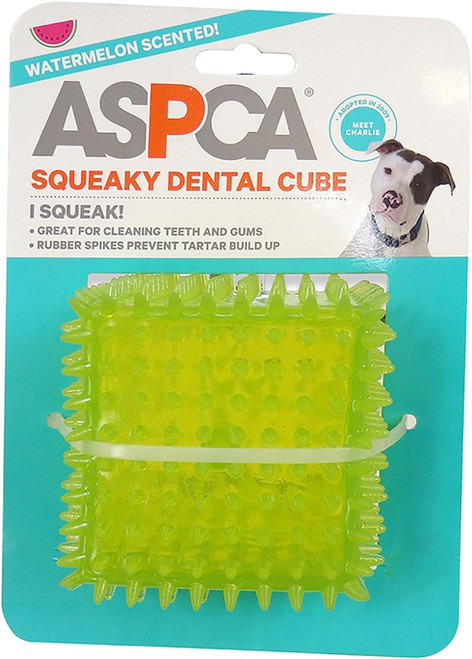 """BOW WOW PET - ASPCA 2.5"""" Squeaky Dental Cube Dog Toy-Green (AS11138-GREEN) 840294132298"""