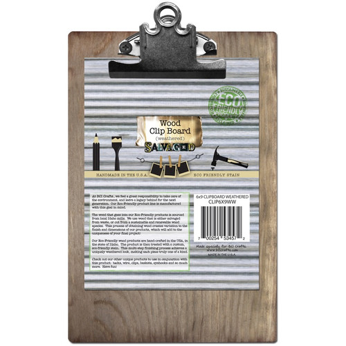 "BCI CRAFTS - Wood Clipboard 6""X9""-Weathered (CLIP6X9-WW-4) 700254534572"